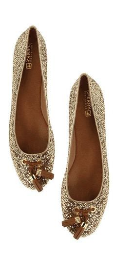 gold glitter flats w/tassels  :: love these! By . Sperry