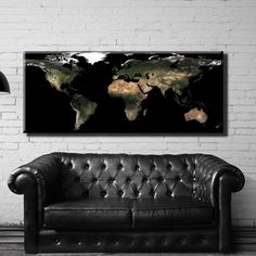 Large Size Box Framed Canvas Print Artwork Stretched Gallery Wrapped Wall Art Like Painting Hanging Original Decorative Modern Home & Living Decor World Map Night Space Snapshot Picture From Space Land Continents Country