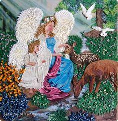 Картина панно рисунок Бумагопластика Квиллинг Папье-маше Ангелы с косулями Бумага Бумажные полосы фото 1