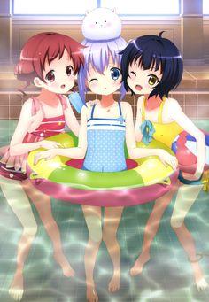 acqua4: gochuumon wa usagi desu ka? jouga maya kafuu chino natsu megumi tippy (gochuumon wa usagi desu ka?) swimsuits wet | #332565 | yande.re