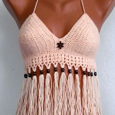 Swimwear - Knitted swimsuit, sexy crochet bikini top m - a designer piece . Swimwear - Knitted swimsuit, sexy crochet bikini top m - a designer piece by Stricke-Art on DaWanda Record of Knitting W. Top Crop Tejido En Crochet, Crochet Summer Tops, Crochet Halter Tops, Crochet Bikini Top, Knitted Swimsuit, Crochet Bathing Suits, Crochet Bra, Crochet Clothes, Festival Mode