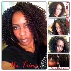 Trina ROCKING her Crochet Braids – Protective hair style! She said the bigger the better ;-)! Used Freetress Waterwave hair for this style