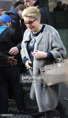 Actress Catherine Deneuve sighted departing the Regent Hotel on February 12 2014 in Berlin Germany Catherine Deneuve, Hermes Bolide, Roman Polanski, Going Gray, French Actress, Parisian Style, Fashion Over 50, Actors & Actresses, Beautiful Women