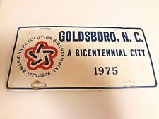 Vintage 1975 Goldsboro North Carolina Nc License Plate Topper Tag