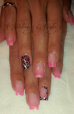 Simple Pink Glitter Tip Acrylic Nails With Cheetah Print .