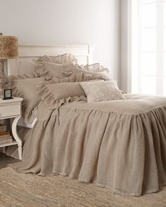 "LOVE the dramatic 30"" drop on the duvet/coverlet and 18"" gathered drop of the matching dust skirt. Go-with-anything Natural Mesh Bed Linen by Pine Cone Hill designed by Annie Selkie at Horchow . $95.00 - $594.00"