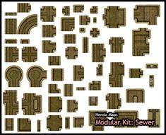 Heroic Maps - Modular Kit: Sewer - Heroic Maps | Caverns & Tunnels | Cities | Dungeons | Sewers | Modular Kits | DriveThruRPG.com