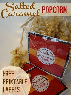 Salted Caramel Popcorn (in the microwave!) ~ with Free Printable Labels