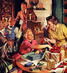 Christmas, retro, gifts