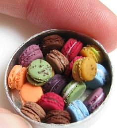 Dollhouse-sized macarons.  Pinned from Miniature Food by Amber Banks