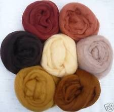 "1/2 oz each 7 colors Shades of brown wool roving ~ 25"" felt wet soap prims spin"