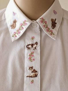 Embroidered Cat Collar Shirt Floral Embroidery White Blouse Oxford Shirt Cat Top Fly Front Size Kitsch Cute Tabby Cat Calico Cat XS to Small Look Fashion, Fashion Details, Diy Fashion, Mode Style, Style Me, Broderie Simple, Mode Top, Girly, Inspiration Mode