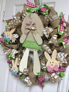 Darling Burlap EASTER Wreath with lots of ribbon and whimsy! Please NOTE- I only have one bunny left to put on the wreath. Wreath is about