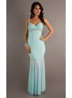 Elegant Long Light Sky Blue Natural Chiffon Sleeveless Evening Dresses