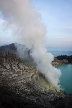 Kawah Ijen volcano is one of several volcanoes located in the 15km diameter Ijen Caldera in East Java, Indonesia. The caldera rim is still visible in places, but has been partially buried by Kawah Ijen.