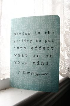 F Scott Fitzgerald Journal  Genius Quote by literaryluxe on Etsy, $5.50