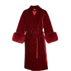 Mink Fur Trimmed Velvet Coat | Moda Operandi ($2,945) via Polyvore featuring outerwear, coats, knee length coat, red velvet coat, quilted coat, velvet coat and red coat