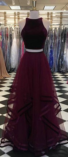 Popular Burgundy Prom Dresses with Tulle Ruffles 2018 Two Piece Prom Party Gowns O-Neck Regular price