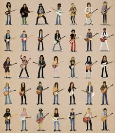 Can you name the famous guitarists in this image?