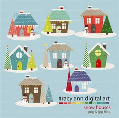 Holiday Houses Clipart  Snow Christmas Xmas by TracyAnnDigitalArt, $9.95