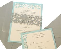 Petal Cutout Wedding Invitations - wrap design, gray, pool, leaves, invite, party, leaf, flower, charming, cute, sweet 16 by TimelessPaper on Etsy https://www.etsy.com/listing/157739498/petal-cutout-wedding-invitations-wrap
