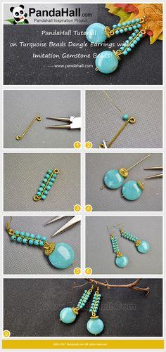 Perles Turquoise Dangle boucles d'oreilles avec perles de pierres précieuses imitation