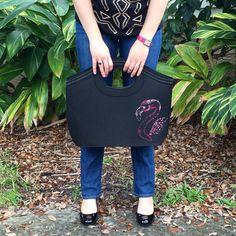 Flamingo tote bag, hand embroidered purse hand bag, gift for her, black felt tote bag