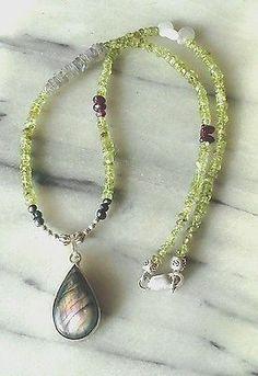 Peridot Labradorite Garnet Pearl Sterling Silver Pendant Bead Necklace Sundance