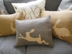 Daisy Hardcastle Hand screen printed and stitched hare cushion And Stag
