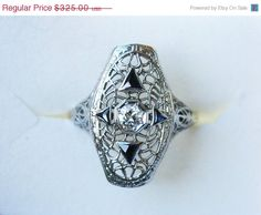 Holiday SALE Vintage 18kt White Gold Filigree Diamond by wimpyren