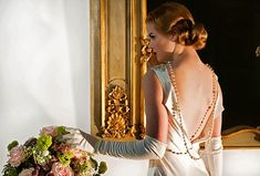 Red carpet old fashioned Hollywood glamour inspired wedding dress by http://www.sanyuktashrestha.com/