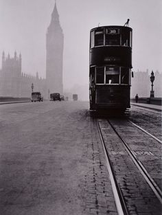 Another London - Rene Groebli. Tram on Westminster Bridge. Tate: Gift Eric and Louise Franck London Collection Vintage London, Old London, London Look, Victorian London, Photography Exhibition, London Photography, White Photography, Street Photography, Vintage Photography