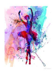 Ballerina's Dance Watercolor 3 Kunsttrykk