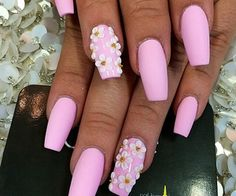 Matte pink with 3-D flowers