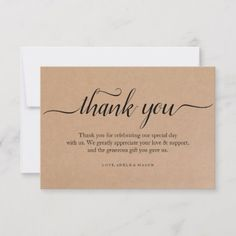 Shop Kraft Paper Thank You Wedding Thank You Note Card created by maylilly. Thank You Card Wording, Thank You Card Design, Thank You Card Template, Thank You Note Cards, Business Thank You Notes, Small Business Cards, Calligraphy Thank You, Packaging Stickers, Packaging Ideas