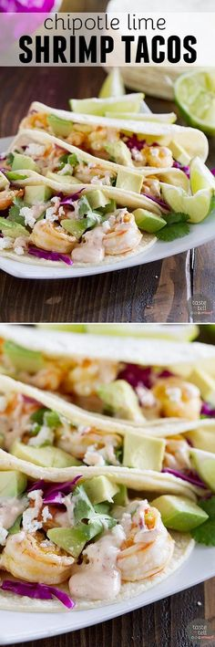 Lime Shrimp Tacos Dinner comes together in a snap with this Chipotle Lime Shrimp Tacos Recipe. There is no excuse to not have a homemade meal on the table when dinner is this easy!Dinner at Eight Dinner at Eight may refer to: Shrimp Taco Recipes, Shrimp Tacos, Fish Recipes, Mexican Food Recipes, Dinner Recipes, Fish Tacos, I Love Food, Good Food, Yummy Food