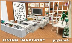 "pqSim4: Living ""Madison"". Sims 4 Custom Content."