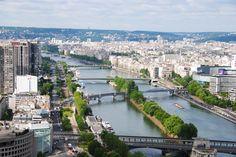 Vista del Sena desde la Torre Eiffel, Francia.