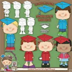 Kindergarten Graduate 1 Clip Art & Digital Stamps by Alice Smith