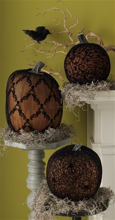 slip on these martha stewart crafts haunted pumpkin sleeves for a dark and moody centerpiece decorating pumpkinshalloween - Halloween Decorations Martha Stewart