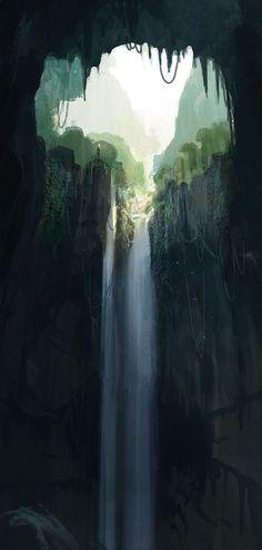 Lord of the Apes. 2008. Numérique. Un des puits qui mène à Pellucidar. Il s'en dégage d'étranges clameurs.
