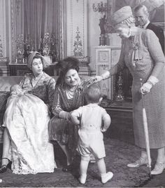 Princess Anne's Christening at Buckingham Palace : King George V1, the Queen Mother and old Queen Mary in group