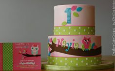 Girly Owl Cake by Christina's Dessertery, via Flickr