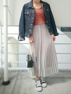 プリーツスカート Gジャン×プリーツスカート