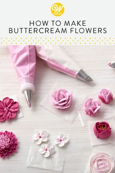 How to Make Buttercream Flowers Frosting Flowers, Royal Icing Flowers, Buttercream Flowers Tutorial, Fondant Flowers, Cake Decorating Techniques, Cake Decorating Tutorials, Cookie Decorating, Fondant Cakes, Cupcake Cakes