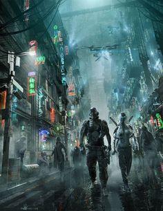 Image result for cyberpunk j rpg / sci fi city / city lights / digital art / futuristic