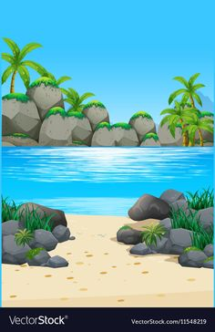 Ocean scene with island and beach vector image on VectorStock Drawing Lessons For Kids, Art Drawings For Kids, Realistic Drawings, Easy Drawings, Photo Frame Wallpaper, Nature Wallpaper, Scenery Background, Cartoon Background, School Murals