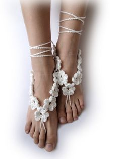 0e0215cb838c9 Crochet Barefoot Sandals - White or Ivory 7 Flowers in a Chain - Foot  Jewelry -