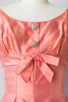 vintage 1950s raw silk coral pocket dress