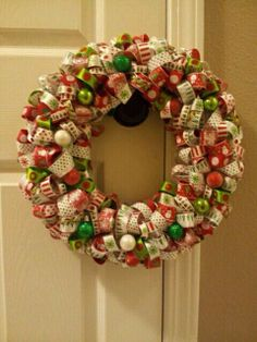 Christmas ribbon wreath  by jmacias85 on Etsy, $45.00